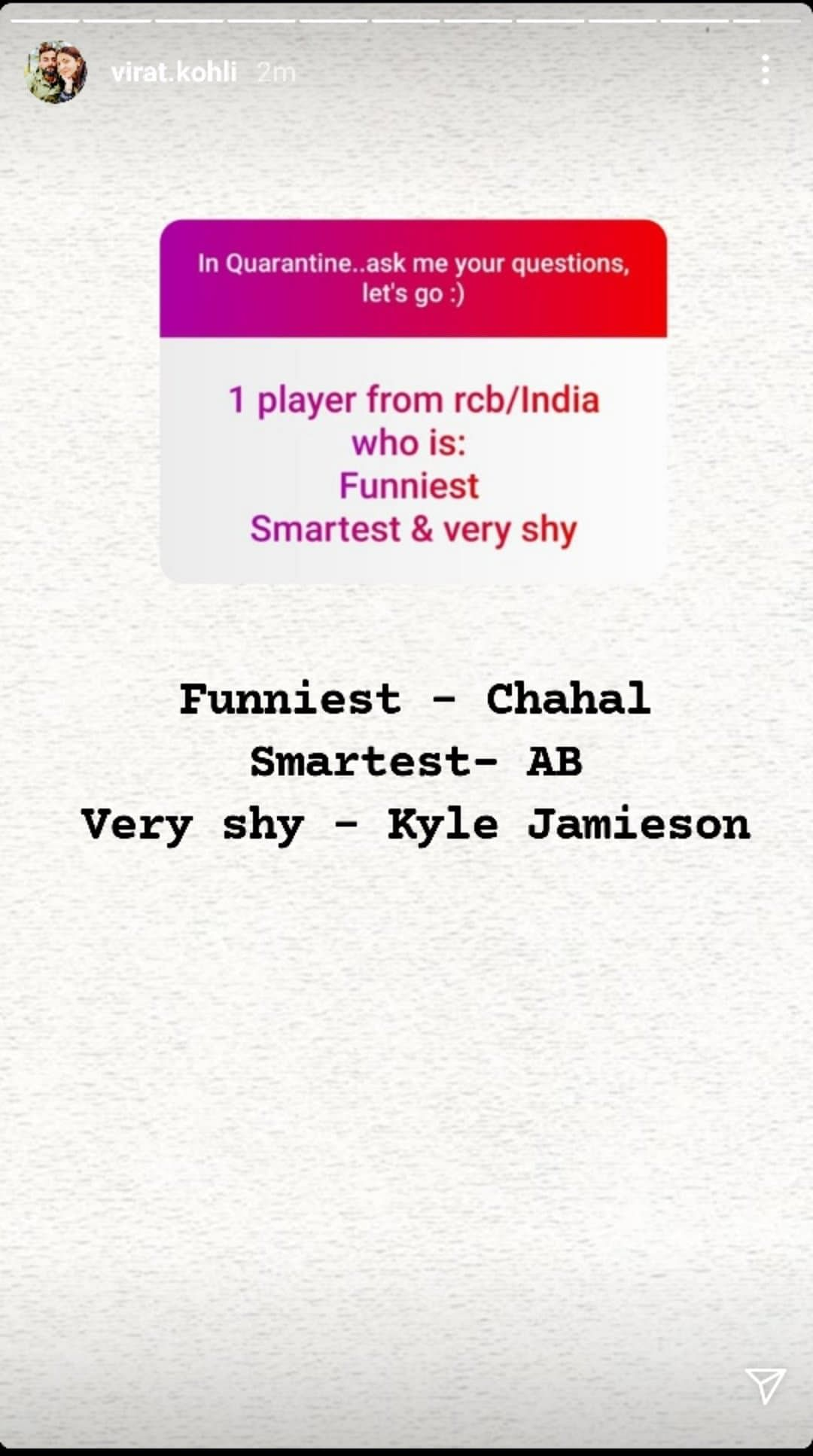 Virat Kohli Names One Player From India/RCB Who Is Funniest, Smartest And Very Shy
